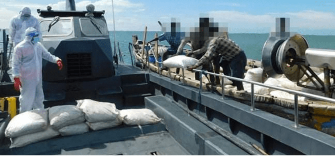 Navy catches 4 foreign nationals with 1680 kilos of dried turmeric