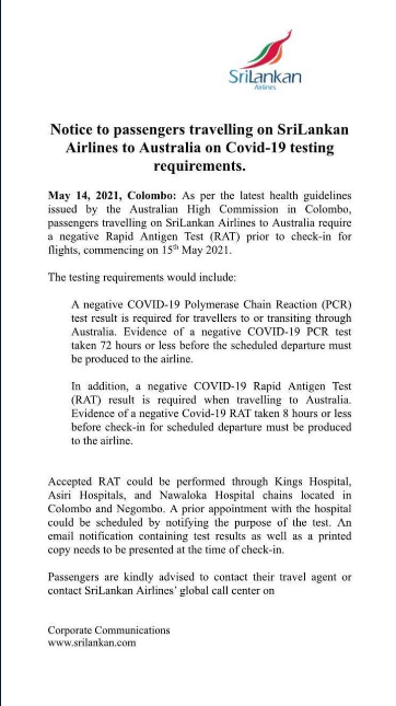 Notice to passengers traveling on Sri Lankan Airlines to Australia on Covid-19 requirements