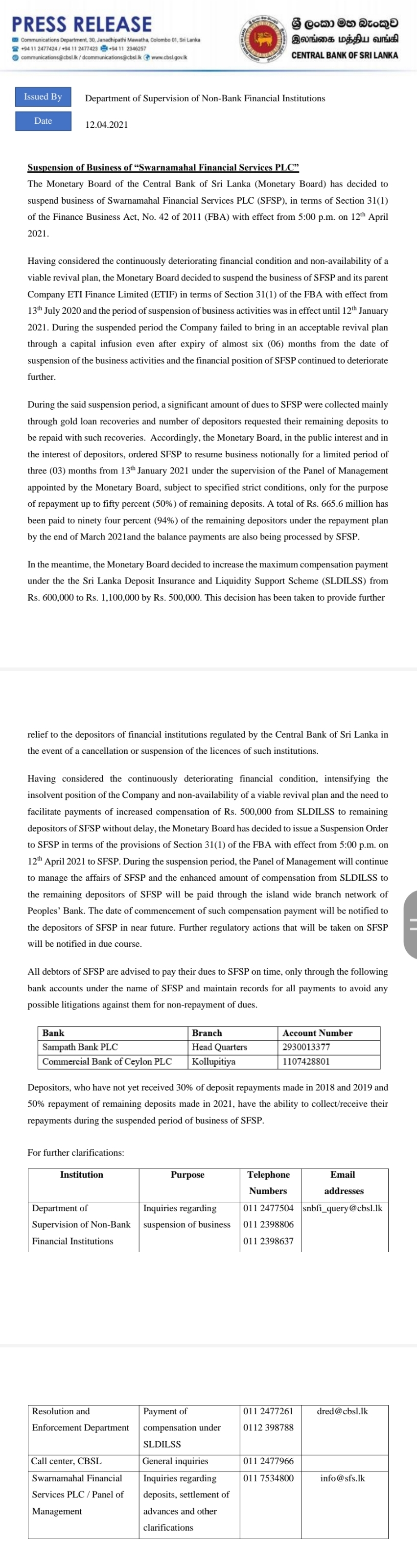 Business of Swarnamahal Financial Services PLC suspended