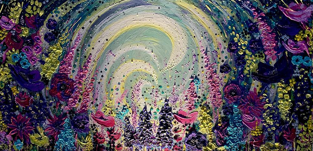 Eleonora Leoni, Explosion of flowers, 100x50cm, Acrilico su tela, 2019