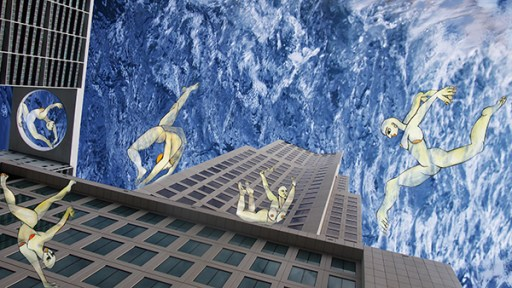 Isabel Carafi, Dancing Water, Tecnica mista su pvc,40x70cm, 2018