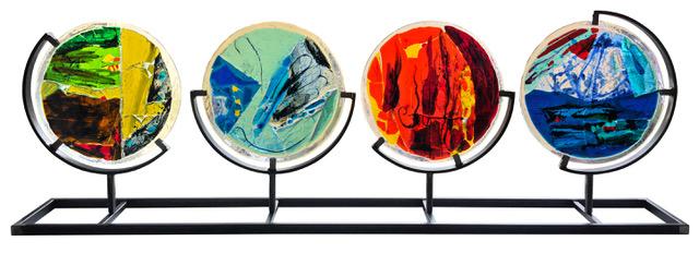 Francesco Lodigiani_I QUATTRO ELEMENTI_Acciaio, Led e Vetrofusioni dipinte con Grisailles_160 x 53 x 20_2019_5000euro