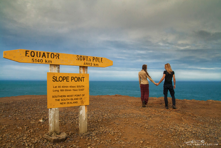 romantic couple, slope point, catlins, New Zealand