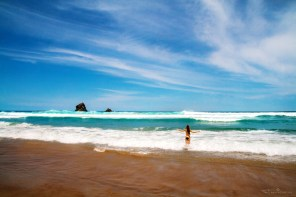 Swimming at Sandfly Bay