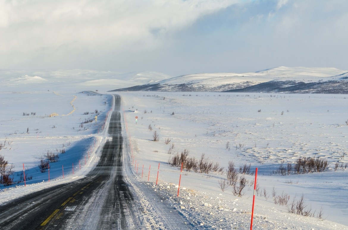 Winter sceneries on the road trip in Norway