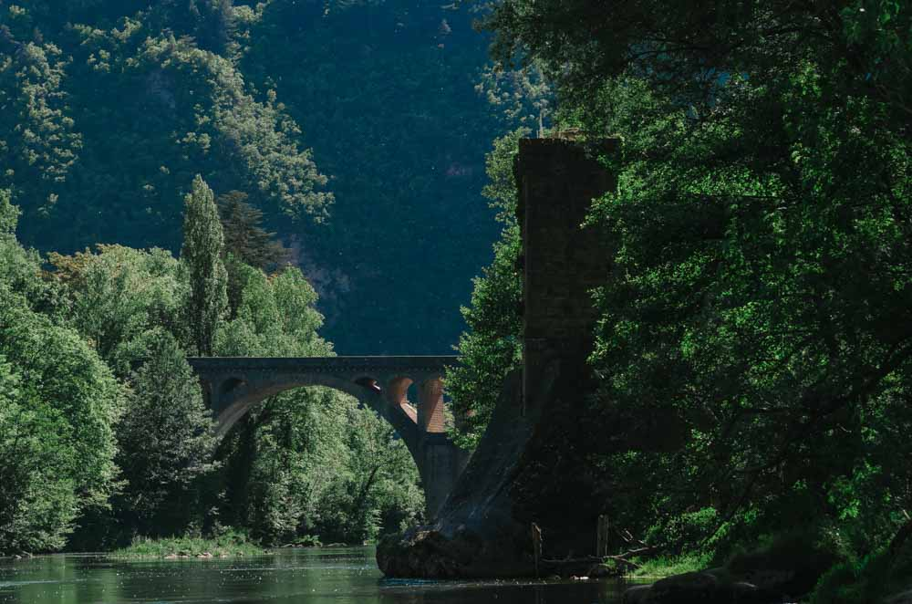 occitanie south west aveyron river bridge