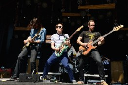 DOVER, DE - JUNE 22:  (L-R) Brian Bell, Rivers Cuomo, Patrick Wilson and Scott Shriner of Weezer perform onstage during day 4 of the Firefly Music Festival on June 22, 2014 in Dover, Delaware.  (Photo by Theo Wargo/Getty Images for Firefly Music Festival) *** Local Caption *** Brian Bell; Rivers Cuomo; Patrick Wilson; Scott Shriner