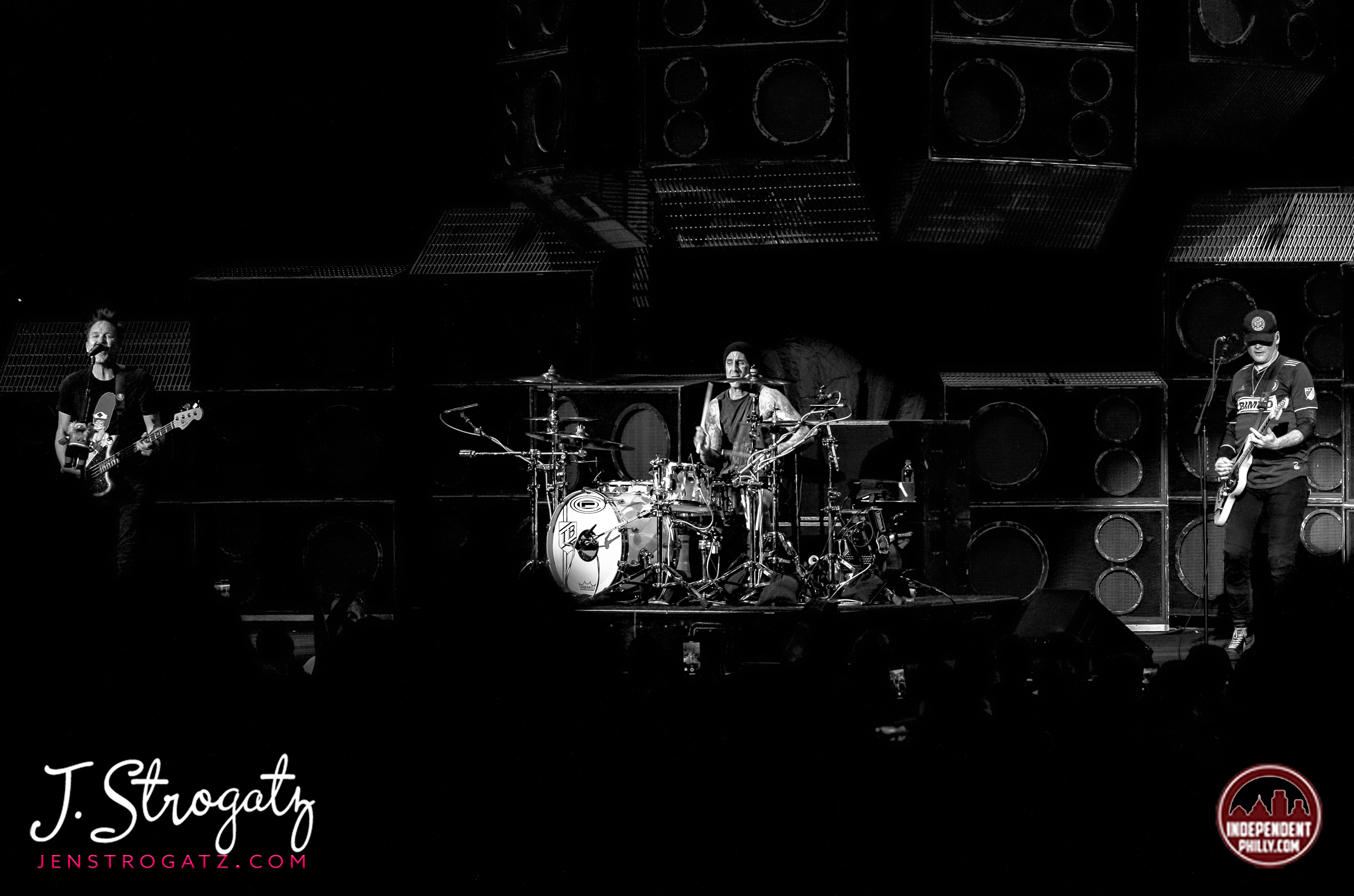 Blink-182 on stage performing live in Camden, NJ. by Jen Strogatz.