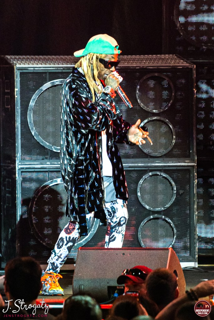 Photo of lil Wayne on stage, performing live at BB&T Pavilion in Camden, NJ in September, 2019. BY Jen Strogatz