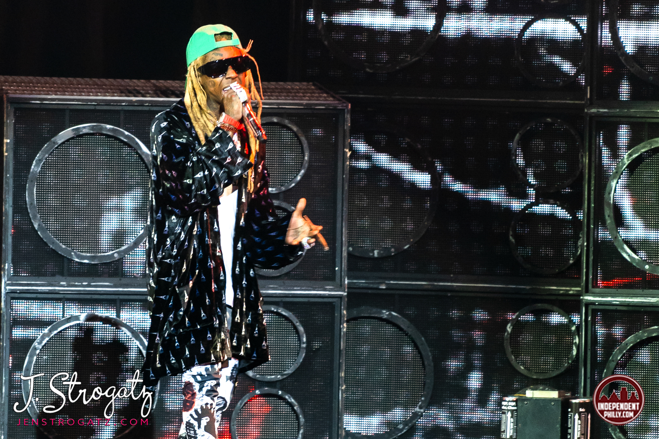 Photo of lil Wayne on stage, performing live at BB&T Pavilion in Camden, NJ in September, 2019
