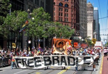 Supporters of WikiLeaks whistleblower Bradley Manning, who revealed war crimes in Iraq, march in San Francisco's Gay Pride parade.