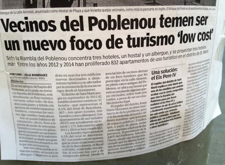 Poblenou a worrying and major focus for low cost tourism