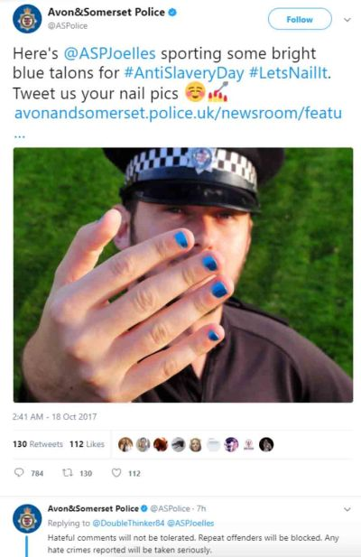 Orwellian UK Police Arrest 9 People a Day for Offensive Posts on