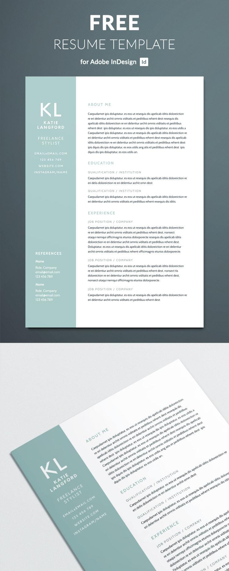 free resume indesign templates