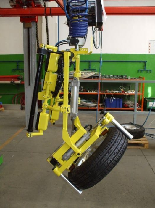 Handling wheels and tires with INDEVA manipulators