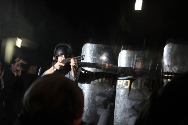 Police have used rubber bullets and pepper spray to disperse Brazilian protesters (Photo: Jimmy Trindade via Facebook)