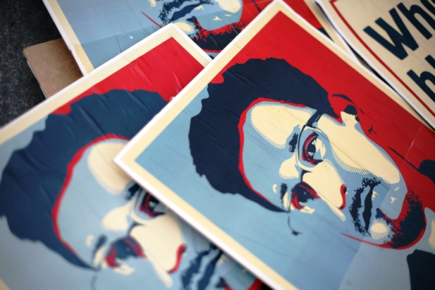 Edward Snowden placards at a protest in Berlin (David von Blohn/Demotix)