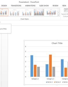 Chart tools design contextual tab of the ribbon also quick layouts for charts in powerpoint windows rh indezine