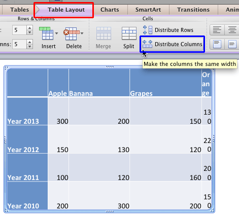 Distribute Table Rows and Columns in PowerPoint 2011 for Mac