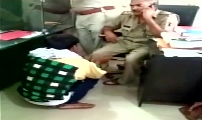 UP Video of Lucknow policeman getting foot massage from