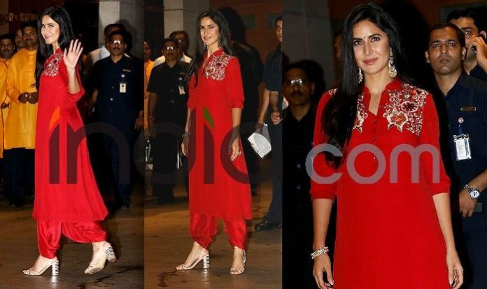 Photo Courtesy: Yogen Shah  Ganesh Chaturthi: Kareena Kapoor, Katrina Kaif, Malaika Arora, Madhuri Dixit And Other Best Dressed Actresses From Event (See Pics) Katrina Kaif at ganesh Chaturthi celebration
