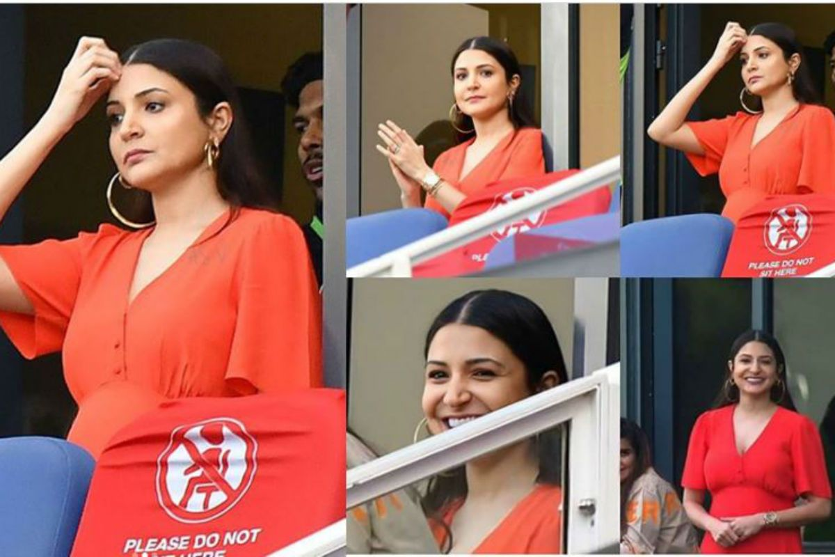 Anushka Sharma Looks Pretty in Red Dress as She Flaunts Baby Bump While Cheering For Virat Kohli