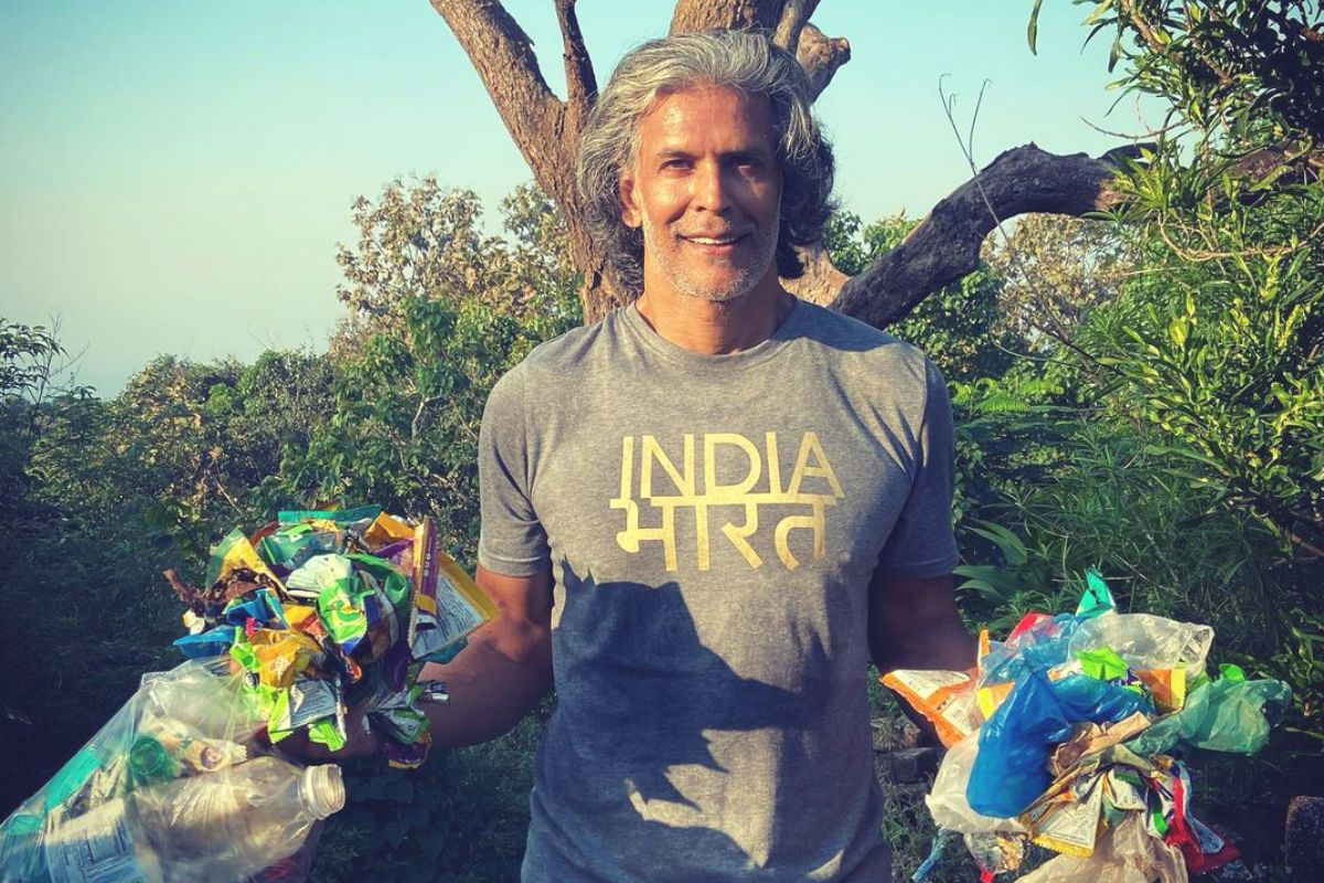 Milind Soman Picks up Garbage Around Shiva Temple And Urges Companies to Use Biodegradable Packaging