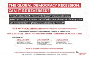 The Global Democracy Recession: Can it be Reversed? @ Johnson/Kaplan Lecture Hall (404)