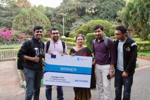 Saraswati from IISc Bangalore with the winning team of Hackathon at IISc Bangalore