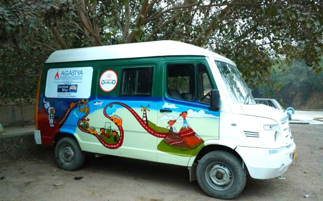 The Agastya mobile learning van waiting outside the learning centre
