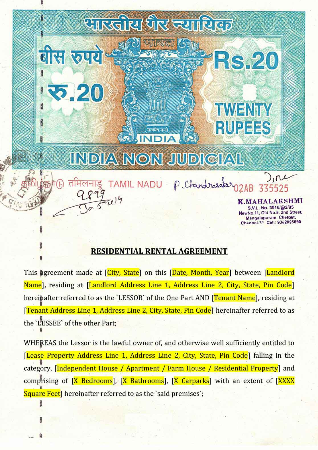 Rental Agreement Format Indiafilings Document Center