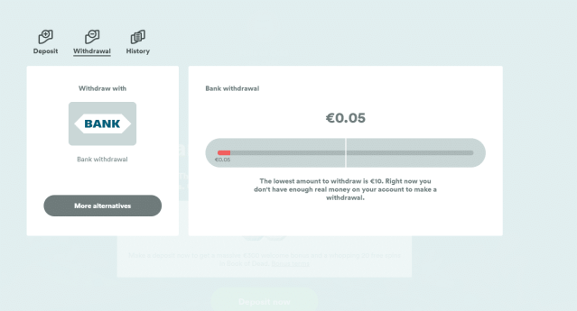 withdraw money page