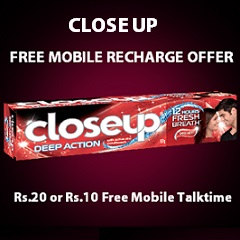 Close Up Free Mobile Recharge Offer Upto Rs 20 Free Talktime