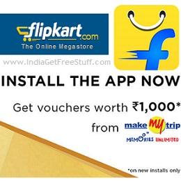 Flipkart App MakeMyTrip Offer Get Free MakeMyTrip Vouchers worth Rs.1000