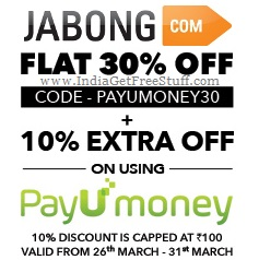 Jabong PayUmoney Offer Flat 30% Off + 10% Extra Off