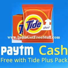 Tide Plus Free Paytm Cash Offer