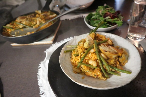 Artichoke and fennel paella is served