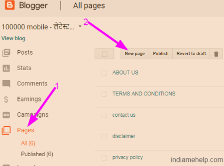 create new page on blog