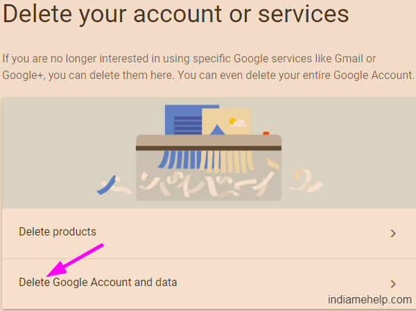 delete google account and data option