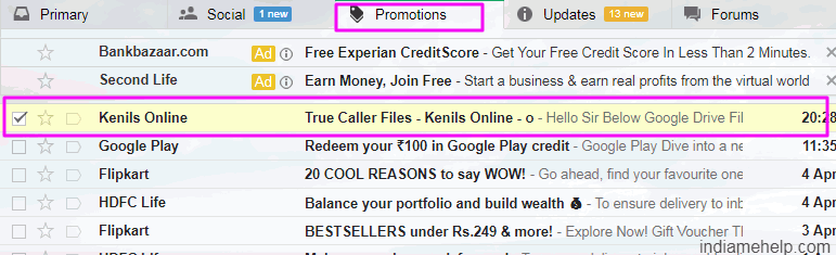 one email selected