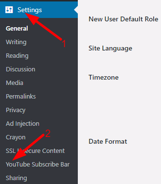 settings option