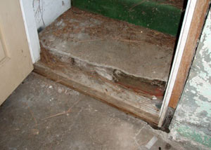 A flooded basement in Crawfordsville where water entered through the hatchway door