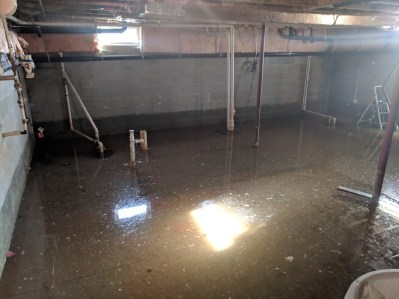 flooded basement with sunbeams
