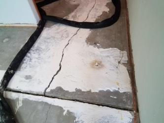 large crack on concrete slab
