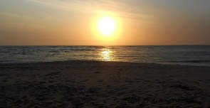 The sunset at Swakopmund after 400kms through the desert, to see the sun melting into the ocean was an amazing sight.