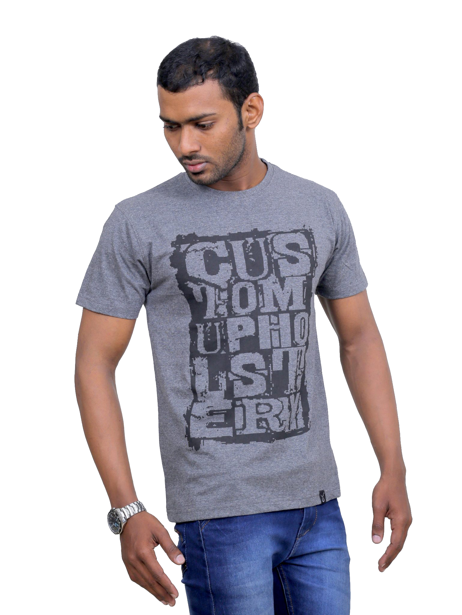 Indian Aurochs Men Naked Upholstery Grey Round Neck T