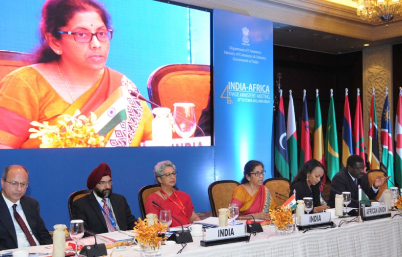 The Minister of State for Commerce & Industry (Independent Charge), Smt. Nirmala Sitharaman addressing the 4th India-Africa Trade Ministers' meeting, in New Delhi on October 23, 2015. The Commerce Secretary, Ms. Rita A. Teaotia and other dignitaries are also seen.