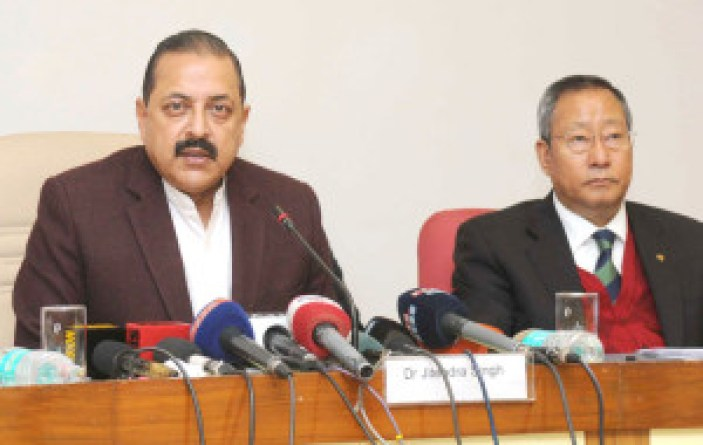 "The Minister of State for Development of North Eastern Region (I/C), Prime Minister's Office, Personnel, Public Grievances & Pensions, Department of Atomic Energy, Department of Space, Dr. Jitendra Singh briefing the media about the festival ""Destination North East – 2016"", in New Delhi on January 05, 2016. 	The Secretary, North East Council, Shri Ram Muivah is also seen."