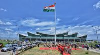 Inaguration of monumental national flag at tirupati airport -indianbureaucracy