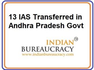 13 IAS Transferred in AP Govt